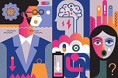 Flat vibrant vector illustration with a touch of 80's style depicting mental health and COVID-19.