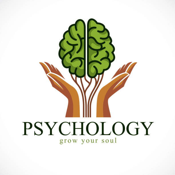 Mental health and psychology concept, vector icon design. Human anatomical brain in a shape of green tree with tender guarding hands, growth and heyday of personality and individuality. vector art illustration