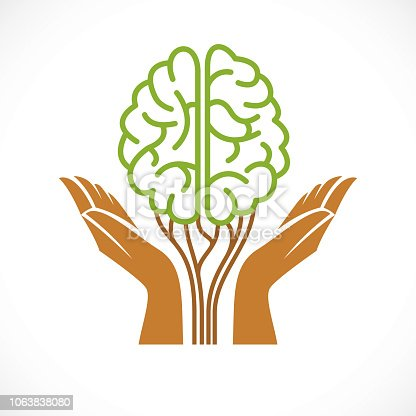 Mental health and psychology concept, vector icon design. Human anatomical brain in a shape of green tree with tender guarding hands, growth and heyday of personality and individuality.