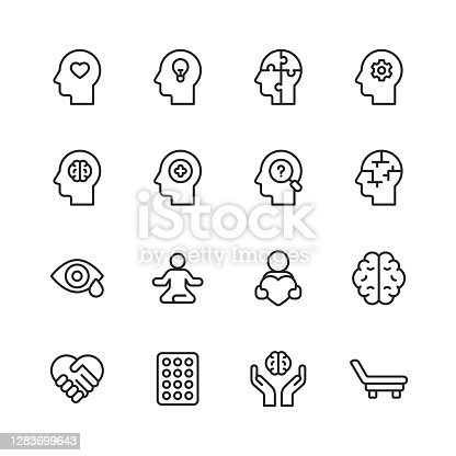 16 Mental Health and Wellbeing Outline Icons. Mental Health, Anxiety, Advice, Attitude, Care, Confidence, Confusion, Emotional Stress, Friendship, Happiness, Healthcare, Medicine, Hospital Bed, Hospital, Human Brain, Illness, Loneliness, Mental Wellbeing, Positive Emotion, Psychiatric Hospital, Psychotherapy, Sadness, Satisfaction, Schizophrenia, Support, A Helping Hand, Family, Adult, Therapy, Disorder, Social Distance.