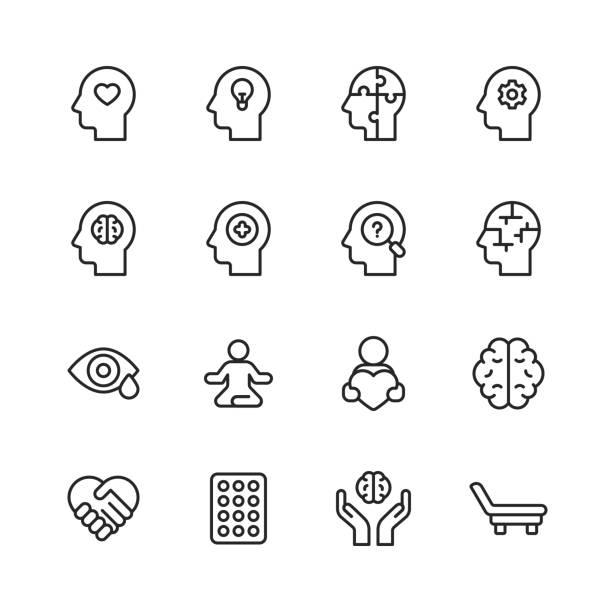 psychische gesundheit und wohlbefinden linie icons. bearbeitbarer strich. pixel perfekt. für mobile und web. enthält solche symbole wie angst, pflege, depression, emotionalstress, gesundheitswesen, medizin, menschliches gehirn, einsamkeit, psychotherapie - geistige gesundheit stock-grafiken, -clipart, -cartoons und -symbole