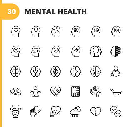 Mental Health and Wellbeing Line Icons. Editable Stroke. Pixel Perfect. For Mobile and Web. Contains such icons as Anxiety, Care, Depression, Emotional Stress, Healthcare, Medicine, Human Brain, Loneliness, Psychotherapy, Sadness, Support, Therapy.