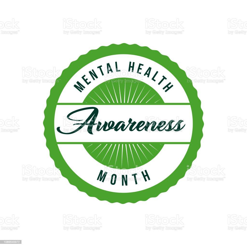 Mental Health Awareness Month Label Stock Illustration ...
