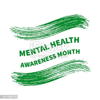 istock Mental Health Awareness Month typography poster. Annual event in May. Vector template for banner, flyer, etc. 1311538743