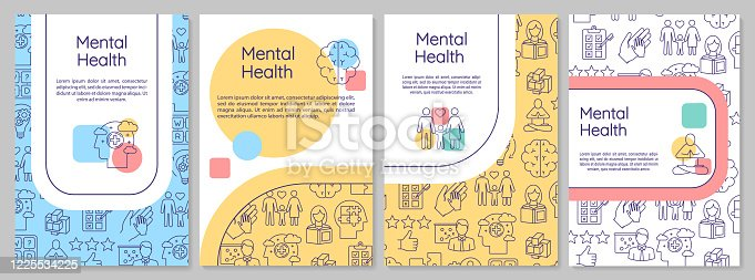 istock Mental health brochure template. Psychological wellness. Psychiatry flyer, booklet, leaflet print, cover design with linear icons. Vector layouts for magazines, annual reports, advertising posters 1225534225