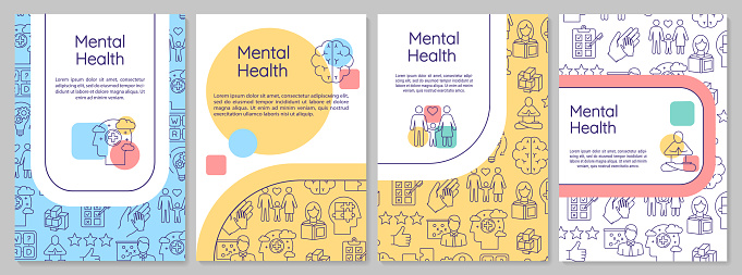 Mental health brochure template. Psychological wellness. Psychiatry flyer, booklet, leaflet print, cover design with linear icons. Vector layouts for magazines, annual reports, advertising posters