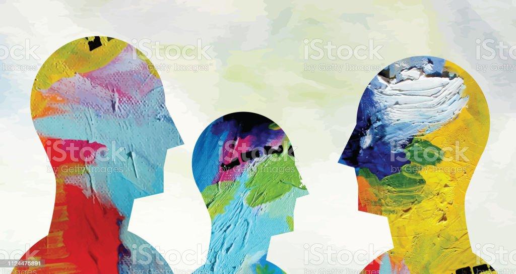 Psychische Gesundheit Konzept Horizontal – Vektorgrafik