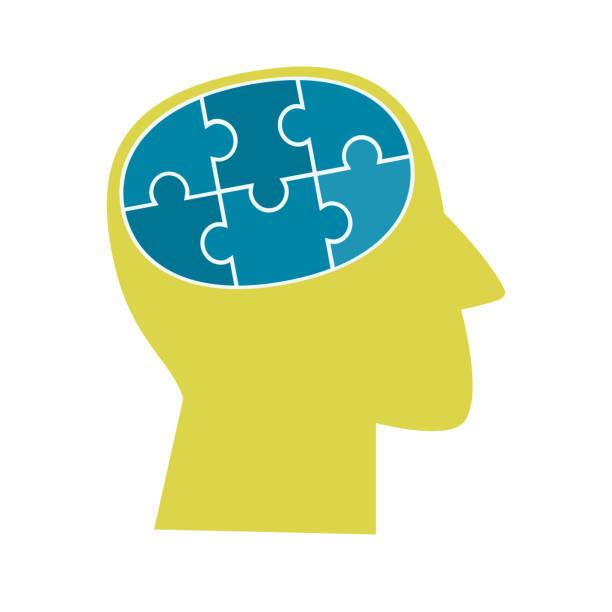 bildbanksillustrationer, clip art samt tecknat material och ikoner med psykisk hälsa-konceptet - brain magnifying