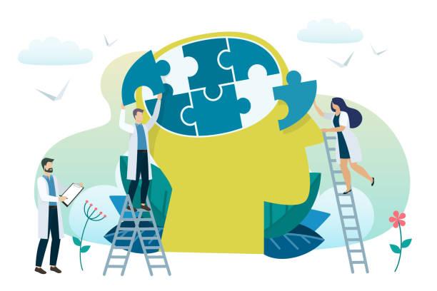 mental health concept - therapist stock illustrations
