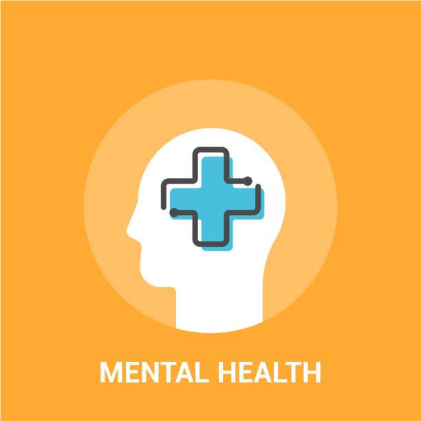 Mental health concept. Vector illustration. Medical cross in the human head vector art illustration