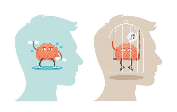 Mental Health concept vector illustration with brain. vector art illustration