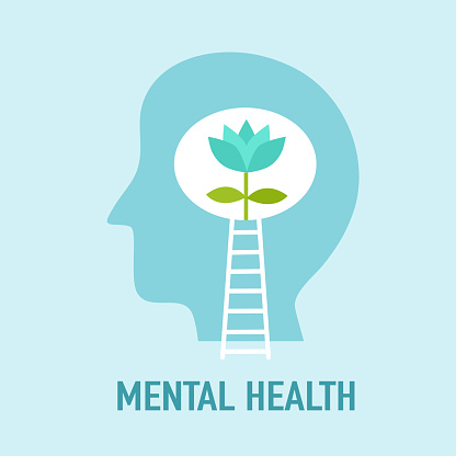 Mental health concept vector illustration. World mental health day. Flower plant growing in brain flat design. Brain and mind care.