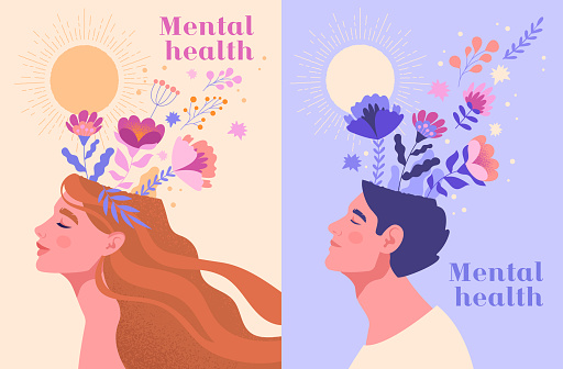 Mental health, happiness, harmony abstract concept