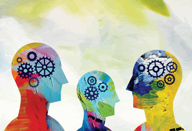 stockillustraties, clipart, cartoons en iconen met geestelijke gezondheid hoofden concept - drie personen