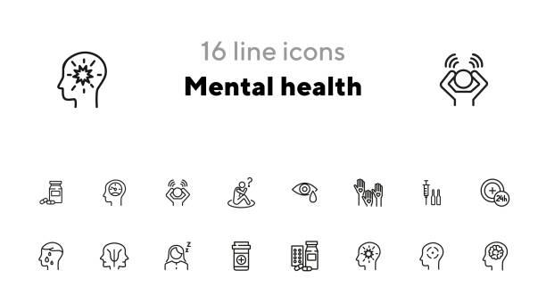 mental health icon set - flat icons stock-grafiken, -clipart, -cartoons und -symbole