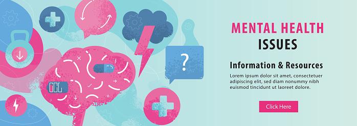 Mental Health Issues Brain Concept Web Banner