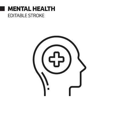 Mental Health Line Icon, Outline Vector Symbol Illustration. Pixel Perfect, Editable Stroke.