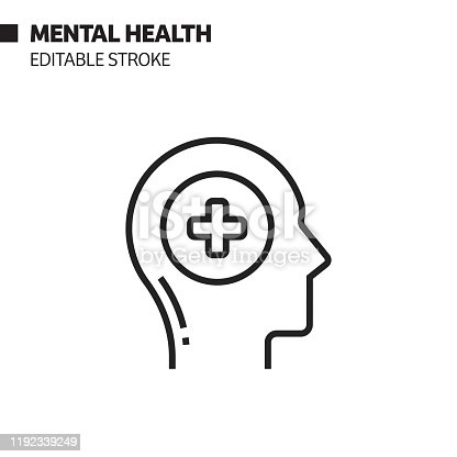 Mental Health Line Icon, Outline Vector Symbol Illustration. Pixel Perfect, Editable Stroke.