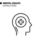 istock Mental Health Line Icon, Outline Vector Symbol Illustration. Pixel Perfect, Editable Stroke. 1192339249