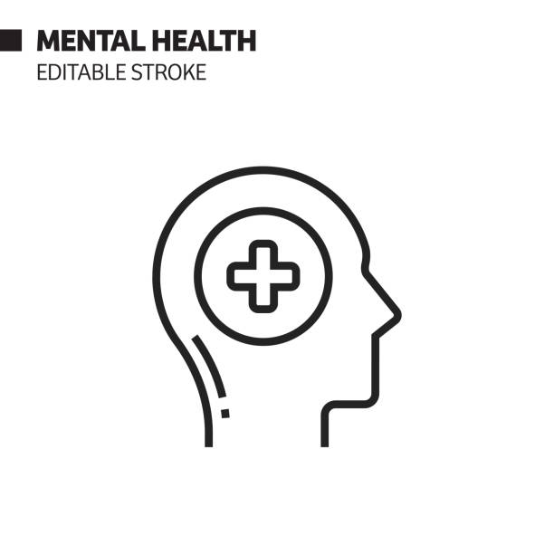 Mental Health Line Icon, Outline Vector Symbol Illustration. Pixel Perfect, Editable Stroke. Mental Health Line Icon, Outline Vector Symbol Illustration. Pixel Perfect, Editable Stroke. mental health stock illustrations