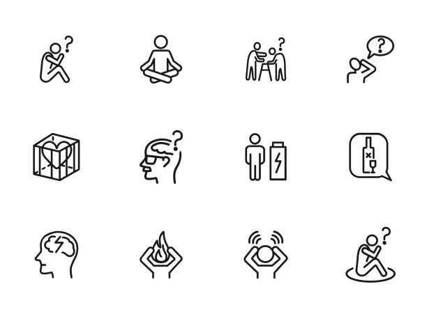 Mental health line icon set Mental health line icon set. Person, patient, brain, disease. Health concept. Can be used for topics like disorder, medical help, symptoms mental burnout stock illustrations