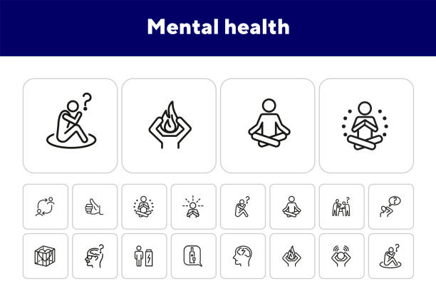 stockillustraties, clipart, cartoons en iconen met geestelijke gezondheid lijn icon set - geestelijk welzijn
