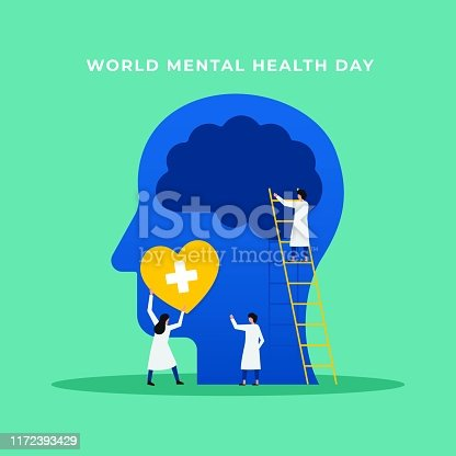 Mental health medical treatment vector illustration. specialist doctor work together to give psychology love therapy for world mental health day concept poster background. Tiny people design style.