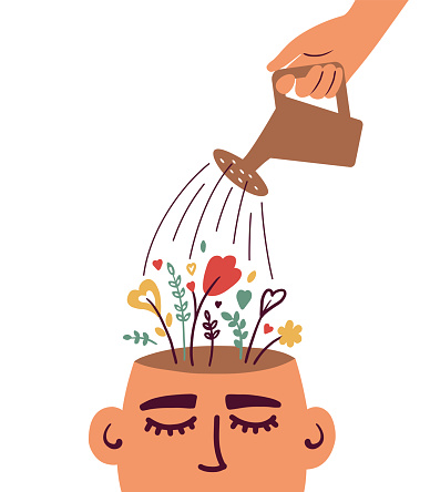 Mental health or psychological therapy concept with watering flowering human head
