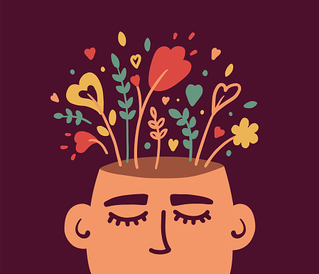 Mental health or psychology concept with flowering human head