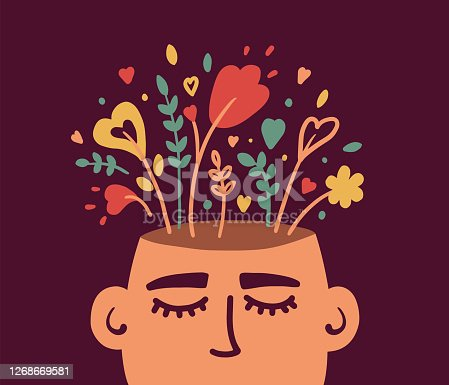istock Mental health or psychology concept with flowering human head 1268669581