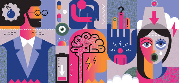 정신 건강 문제 개념 - burnout stock illustrations