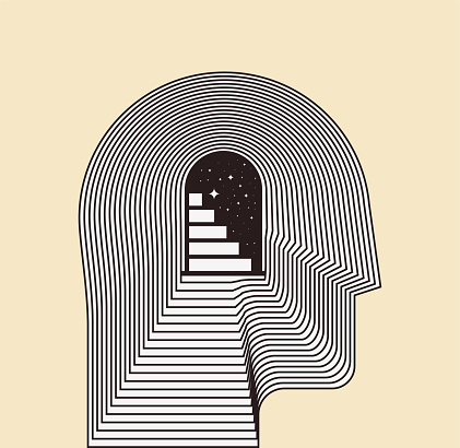 Mental health psychotherapy or inner world or meditation concept with side view human head silhouette with door and stairways inside. Conceptual vector illustration