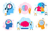Mental health therapy. Emotional state, mentality healthcare and medical therapies prevention mental problem. Psychological therapy, mental illness or mind care. Vector illustration isolated signs set