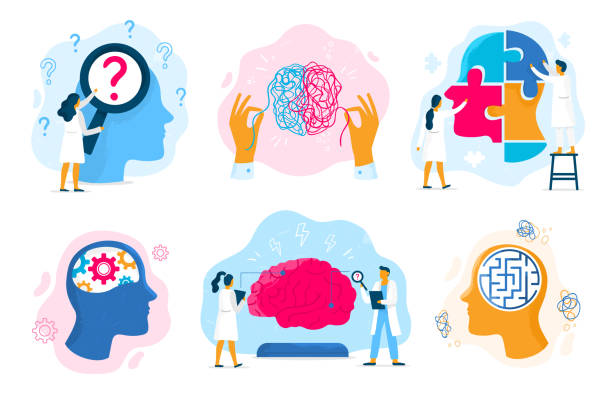 Mental health therapy. Emotional state, mentality healthcare and medical therapies prevention mental problem vector illustration set Mental health therapy. Emotional state, mentality healthcare and medical therapies prevention mental problem. Psychological therapy, mental illness or mind care. Vector illustration isolated signs set brain stock illustrations