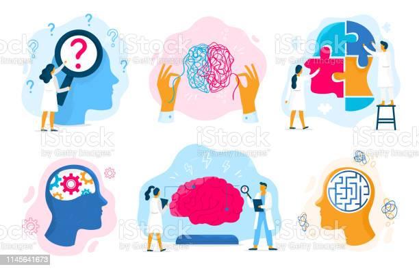 Geestelijke Gezondheids Therapie Emotionele Toestand Mentaliteit Gezondheidszorg En Medische Therapieën Preventie Mentale Probleem Vector Illustratie Set Stockvectorkunst en meer beelden van Beschouwing