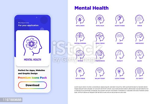 Mental health thin line icons set: mental growth, negative thinking, emotional reasoning, logical plan, obsession, inner dialogue, balance, self identity. Vector illustration for mobile user interface.