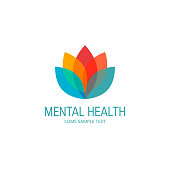 Mental health concept. Logo template with colored lotus flower. Vector illustration in flat style.