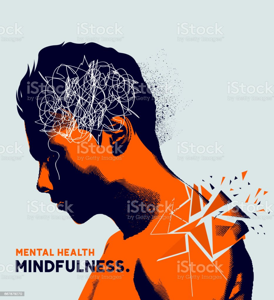 Mental health vector art illustration