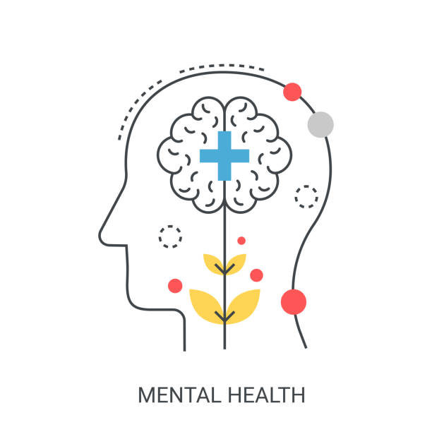 Mental health vector illustration concept. Mental flat line health vector illustration concept. neurodegenerative disease stock illustrations