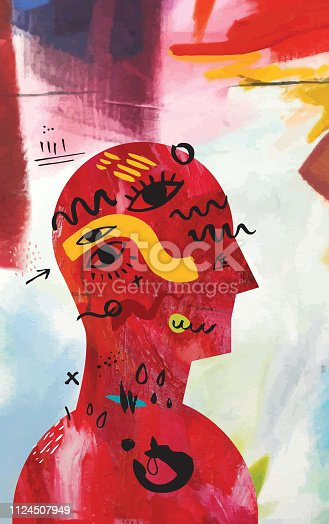 Vector illustration depicting mental health concept made from two different vectorised acrylic paintings combined with hand drawn brush elements.