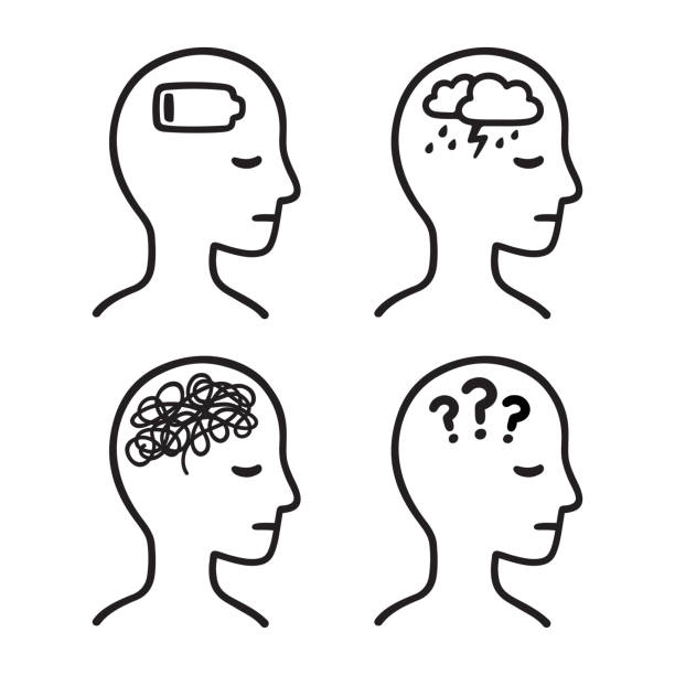 Mental illness head symbols Mental health symptoms: depression, anxiety, confusion, apathy. Black and white head silhouette with illness symbols. Hand drawn vector icon illustration. exhaustion stock illustrations