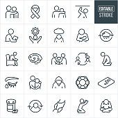 A set of mental illness icons that include editable strokes or outlines using the EPS vector file. The icons include a person consoling sad person with depression, awareness ribbon, person with arm around the shoulder of a troubled person, a person feeling trapped, a psychiatrist doing an evaluation, person with a sun to represent hope, depressed person with head down and a cloud over head, woman with head down holding baby to represent postpartum depression, depression cycle, sad person sitting in chair, affected bran, person showing compassion to another person, depressed person on his knees, eye with ear, troubled teen, life preserver, depressed person in bed, medication, clasped hands, depressed person reaching for heaven and a depressed person with head in hands to name a few.
