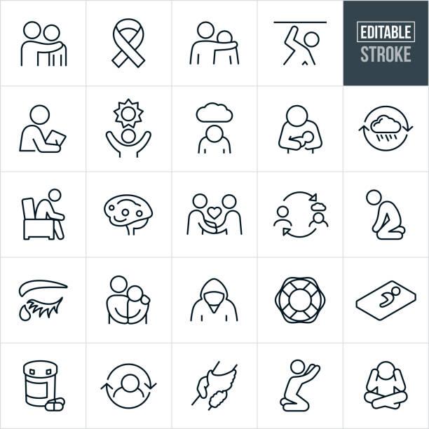 Mental Illness Thin Line Icons - Editable Stroke vector art illustration