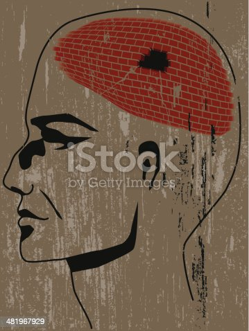 Vector illustration of man's profile with brain made of brick with a whole in it.