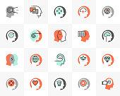 Flat line icons set of human mental process, emotional intelligence. Unique color flat design pictogram with outline elements. Premium quality vector graphics concept for web, logo, branding, infographics.