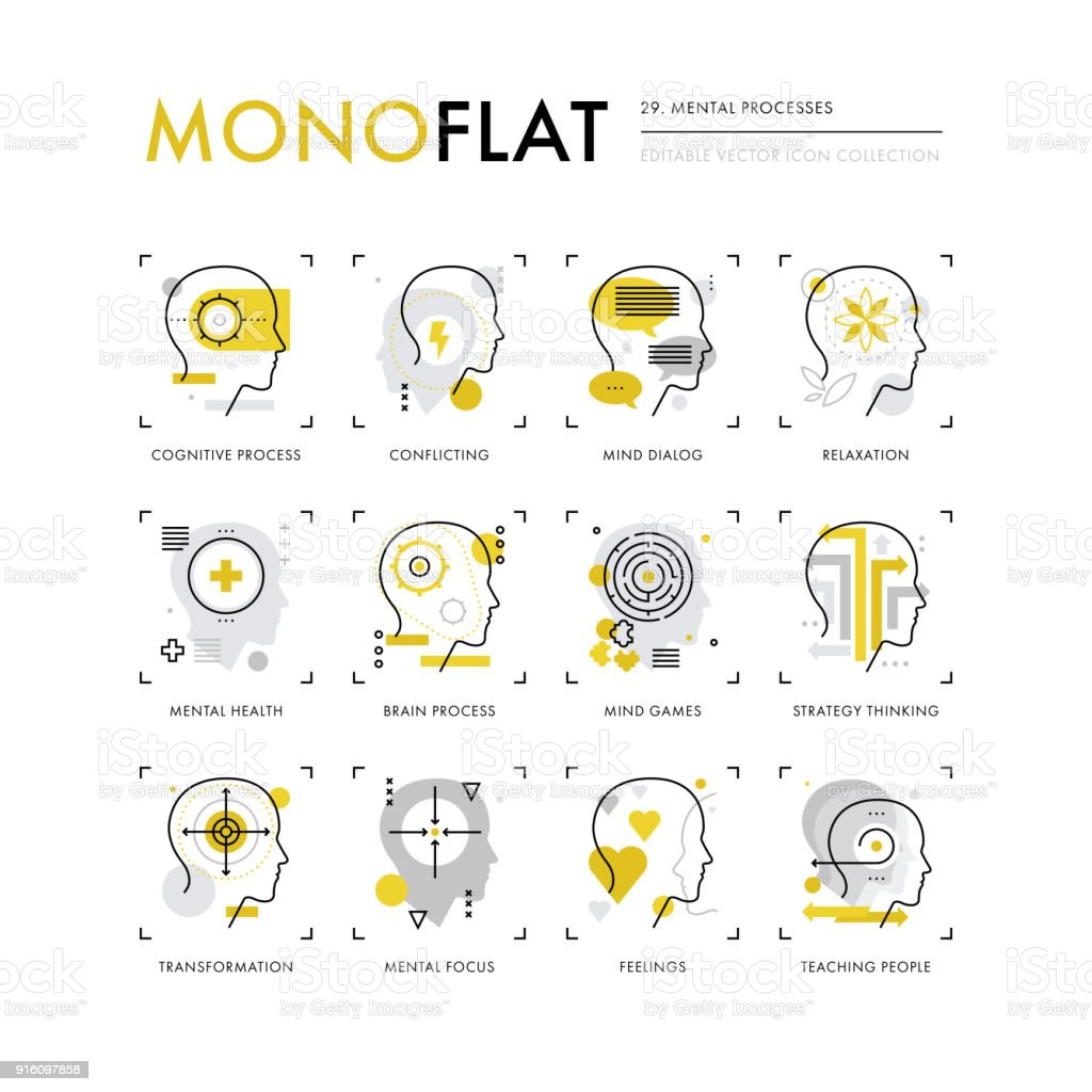 Mental Processes Monoflat Icons vector art illustration