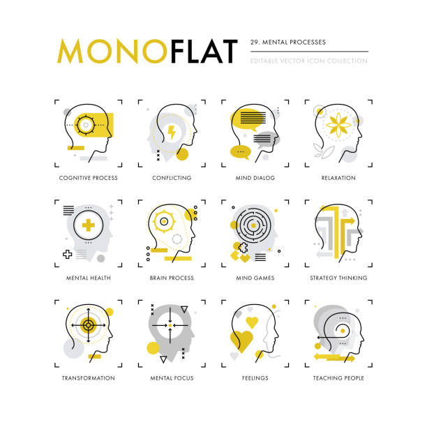 Mental Processes Monoflat Icons Infographics icons collection of mental processes, mind operation of thinking, brain health. Modern thin line icons set. Premium quality vector illustration concept. Flat design web graphics elements. sensory perception stock illustrations