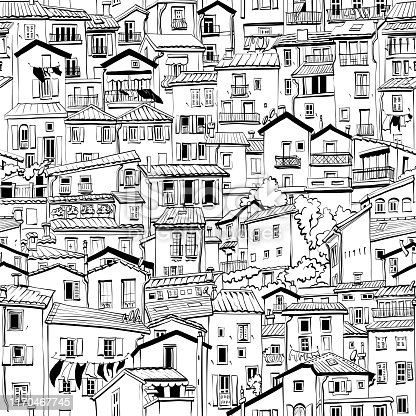 Black and white seamless background with typical houses in old town in Menton, France