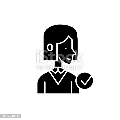 Mentor black icon, concept vector sign on isolated background. Mentor illustration, symbol