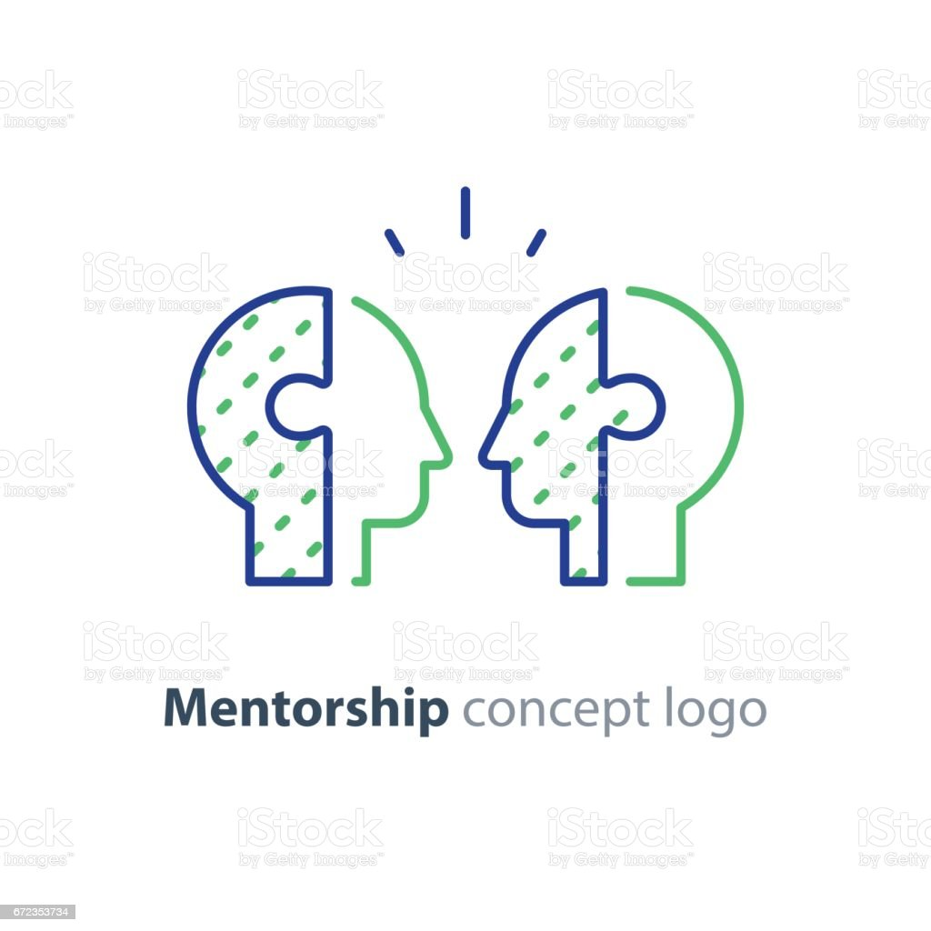Mentor concept, two side heads icon, psychology, human interraction vector art illustration